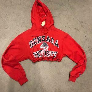 Gonzaga University drawstring crop hoodie